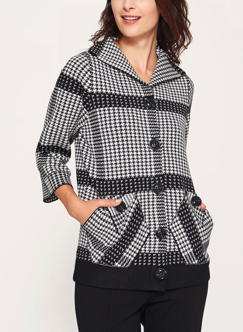 Houndstooth Plaid Knit Bomber Cardigan, Black, hi-res