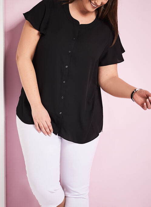 Short Sleeve Button Down Blouse, Black, hi-res