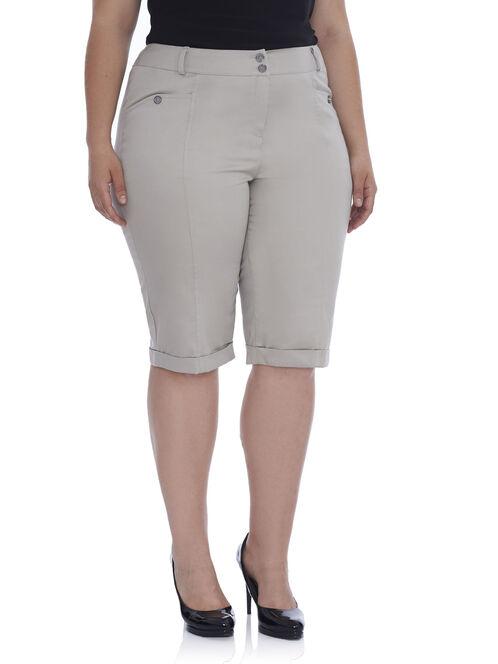 Cotton Slim Leg Shorts, Brown, hi-res