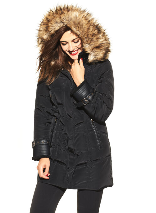 Fen-Neli Faux Fur Down Coat, Black, hi-res