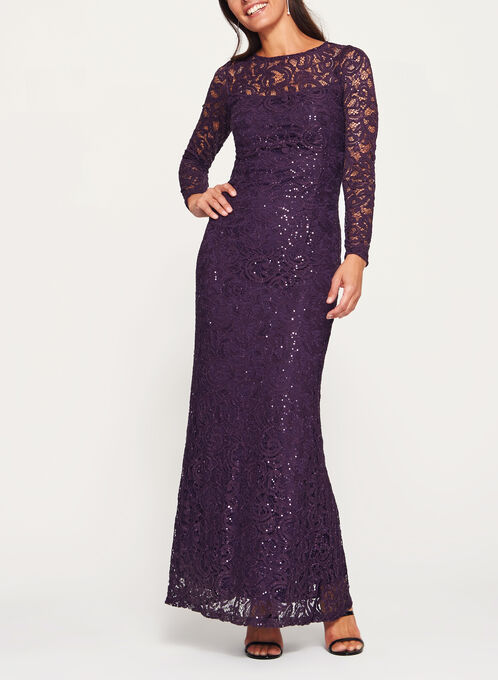 Sequin Lace Long Sleeve Dress, Purple, hi-res