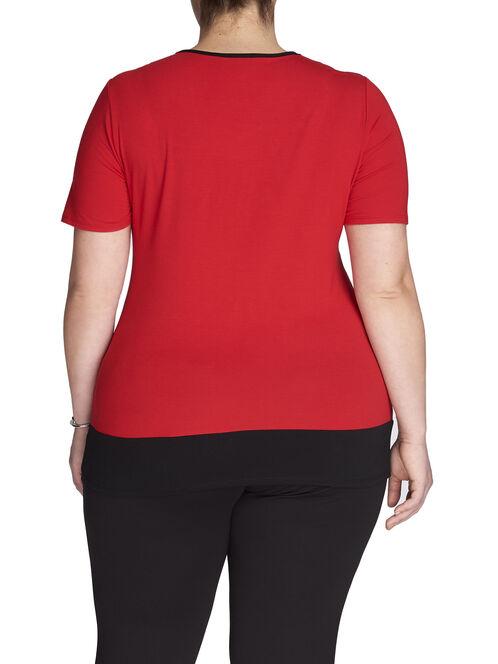 Short Sleeve Zipper Trim Top, Black, hi-res