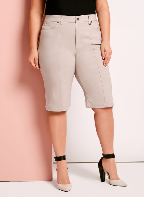 Simon Chang Microtwill Bermuda Shorts, Grey, hi-res