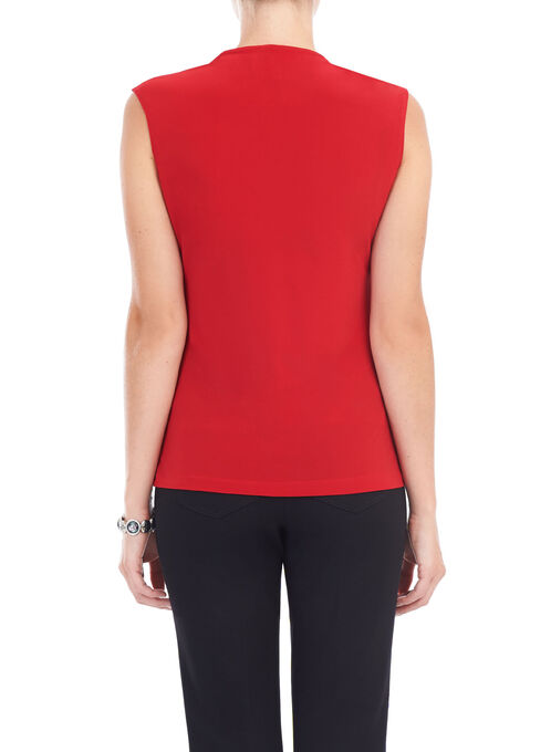 Sleeveless Scoop Neck Tank Top, Red, hi-res