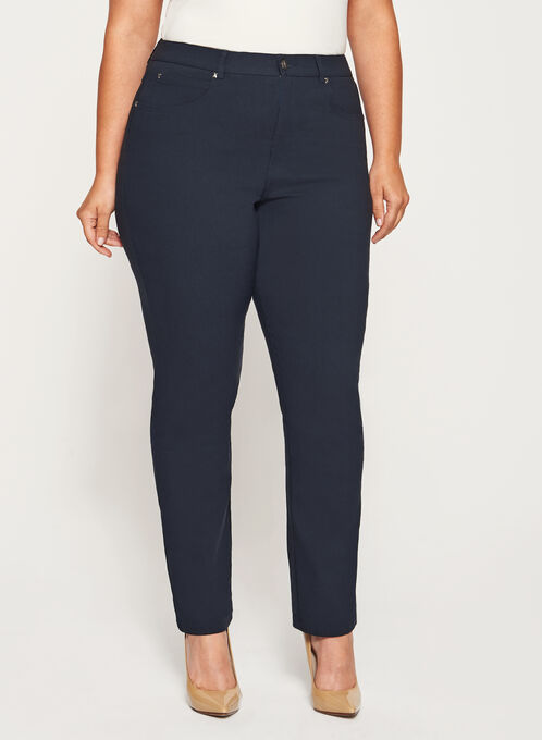 Simon Chang - Signature Fit Embroidered Straight Leg Pants, Blue, hi-res