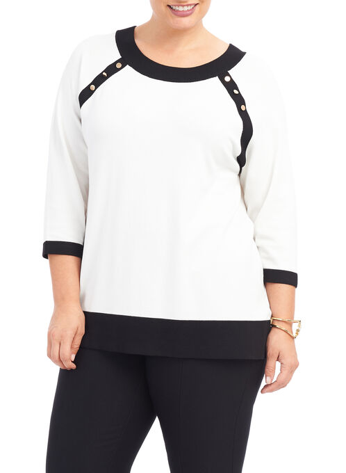 3/4 Sleeve Knit Top, White, hi-res