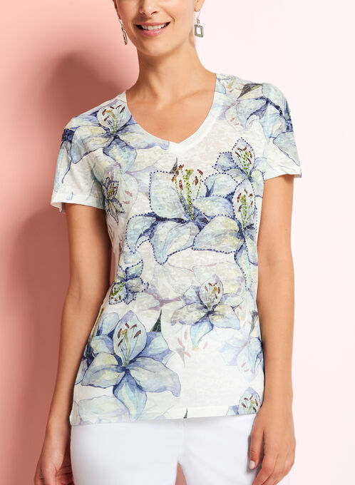 V-Neck Floral Print T-Shirt, Blue, hi-res