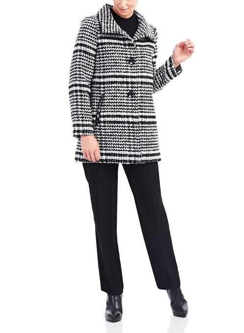 Novelti Herringbone Print Coat, Black, hi-res