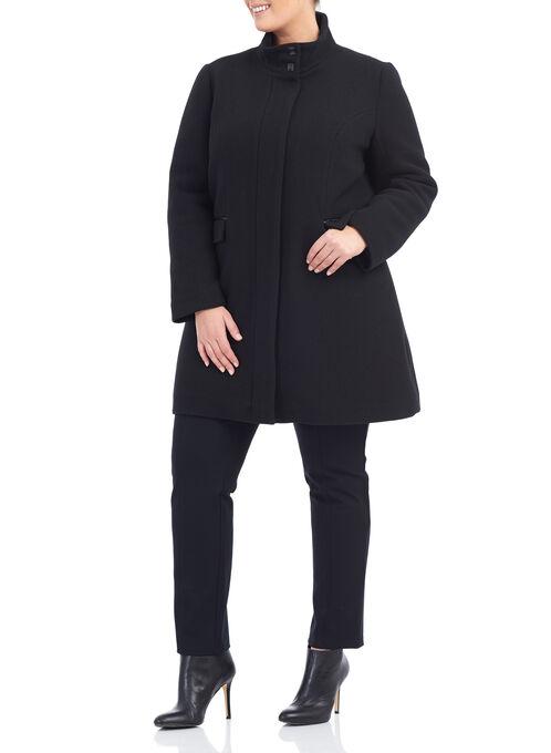 Novelti Faux Leather & Wool Coat, Black, hi-res