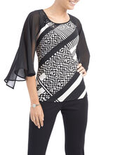 Printed Flutter Sleeve Top , White, hi-res