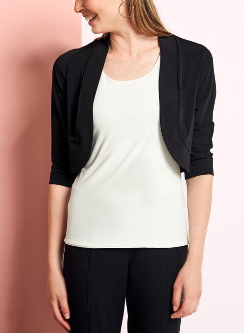 3/4 Sleeve Banded Jersey Bolero, Black, hi-res