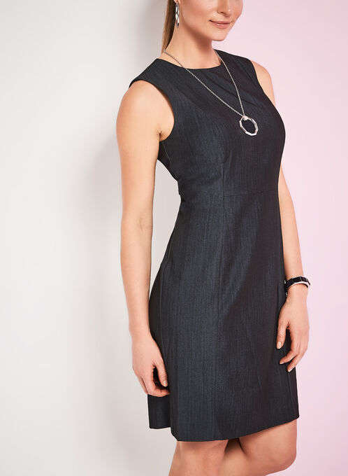 Sleeveless Faux Denim Sheath Dress, Blue, hi-res