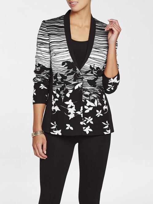 Knit Floral Print Jacket, Black, hi-res