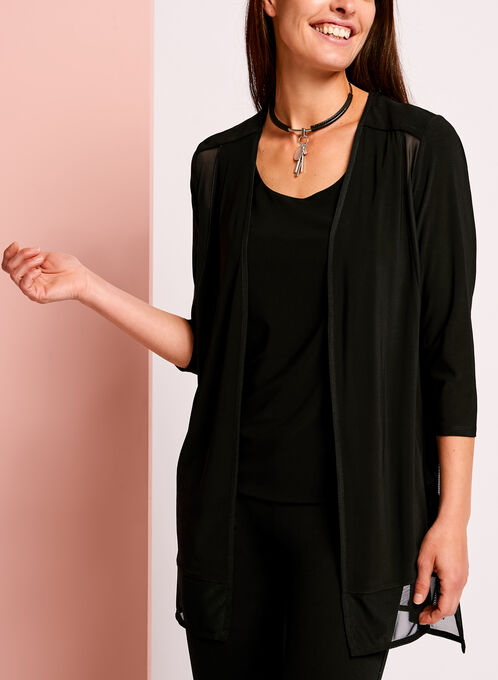 3/4 Sleeve Mesh Cover Up, Black, hi-res