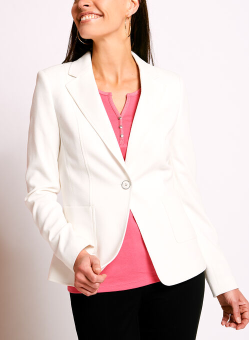 One-Button Pique Ponte Blazer, White, hi-res