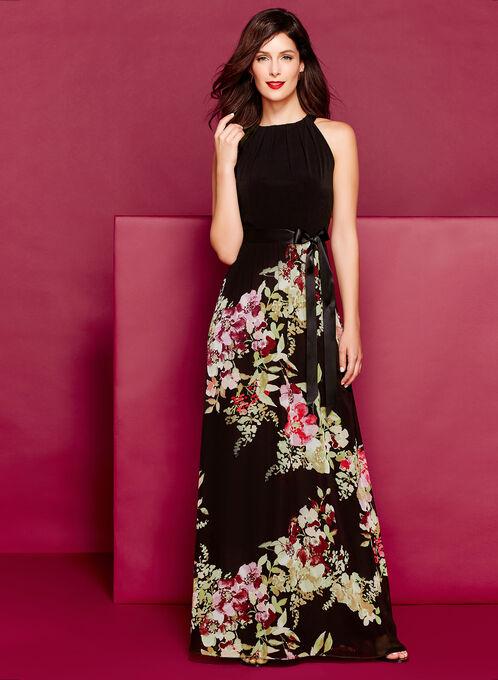 Tuck Neck Floral Print Maxi Dress