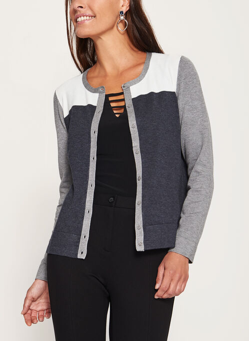 Colour Block Pointelle Yoke Cardigan, Grey, hi-res