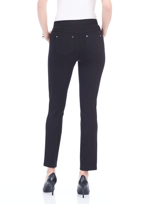 Ponte Straight Leg Pants, Black, hi-res