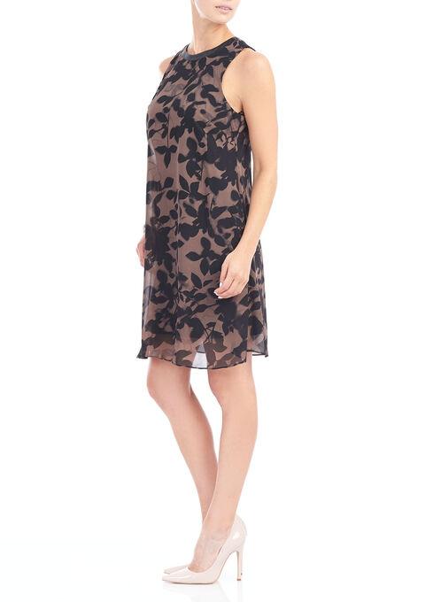 Sleeveless Floral Print Chiffon Dress, Brown, hi-res