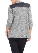 3/4 Sleeve Faux Leather Top, Grey, hi-res
