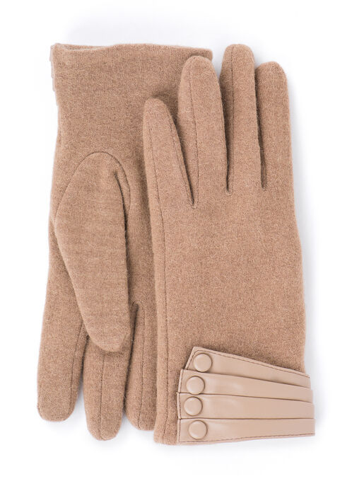 Wool Blend & Faux Leather Gloves, Brown, hi-res