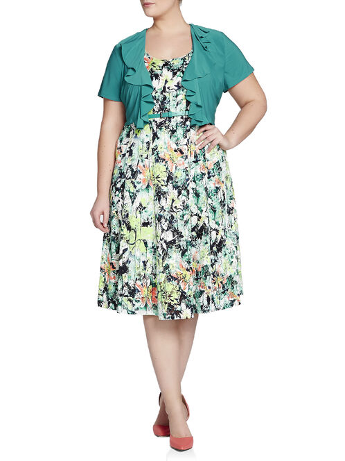 Printed Lace-Like Fit & Flare Dress, Green, hi-res