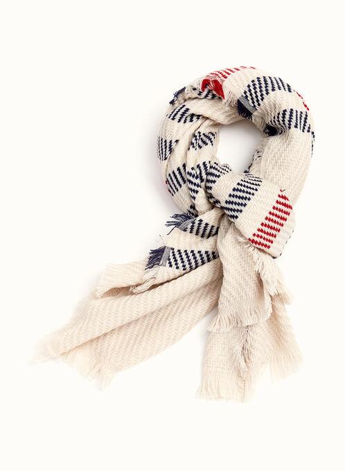 Stripe Print Knit Scarf, Brown, hi-res