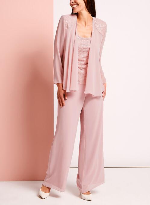 3-Piece Sequined Lace Pantsuit , Pink, hi-res