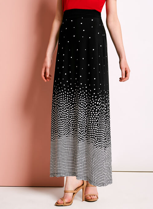 Geometric Print Maxi Skirt, Black, hi-res