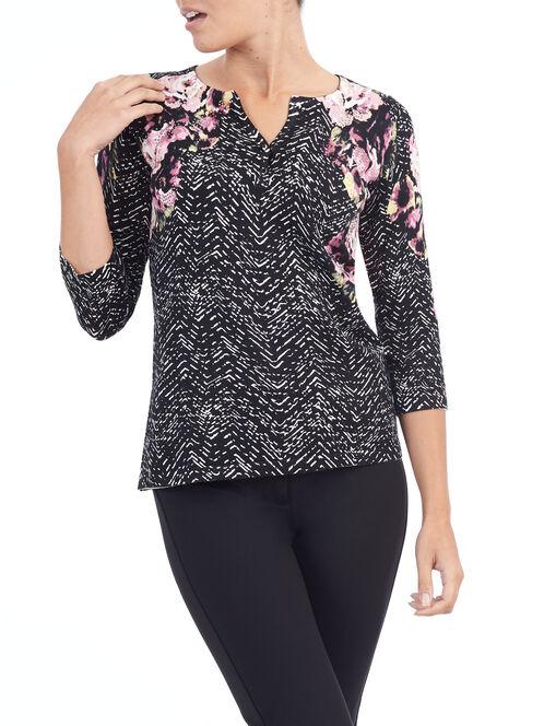 Floral Print Henley Neck Sweater, Black, hi-res