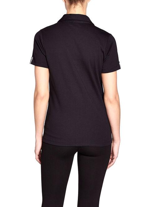 Notch Collar Checkered Trim T-Shirt, Black, hi-res