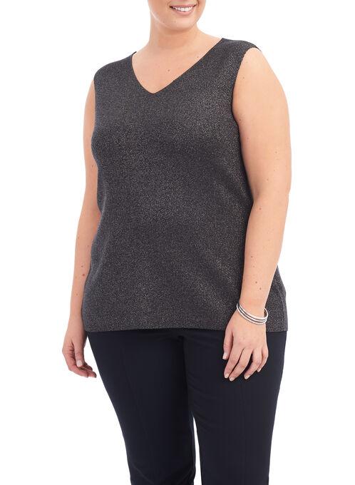 Sleeveless Lurex Sweater, Grey, hi-res