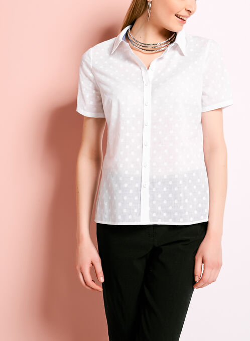 Short Sleeve Fil-Coupé Button Down Shirt, White, hi-res