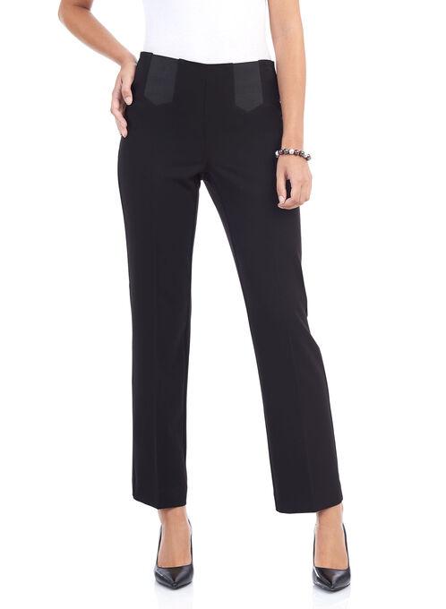 Elastic Panel Straight Leg Pants , Black, hi-res