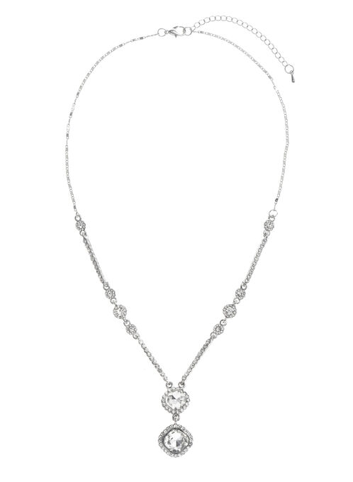 Double Chain Crystal Necklace , Silver, hi-res