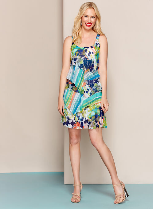 Floral Stripe Print Tiered Dress, Green, hi-res
