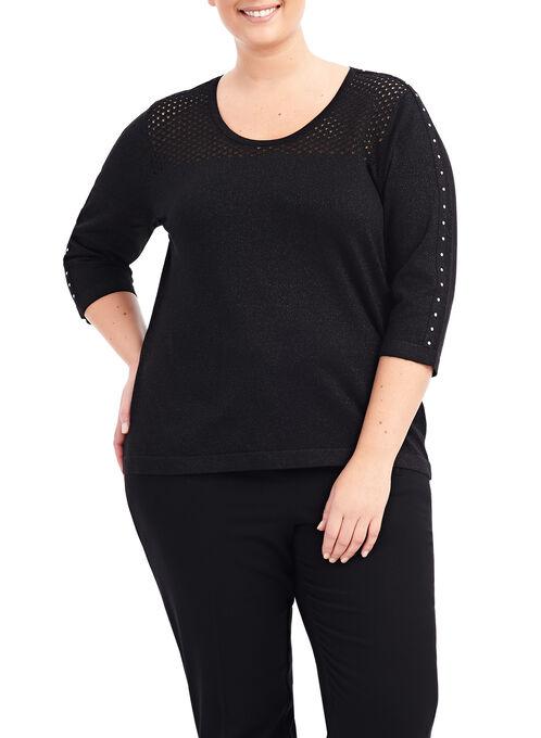 Studded Pointelle Yoke Sweater, Black, hi-res
