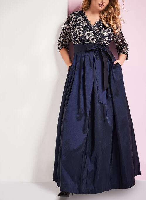 Lace & Taffeta Ball Gown, Blue, hi-res