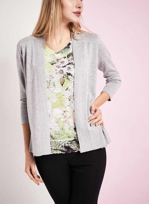 3/4 Sleeve Pointelle Knit Cardigan, Grey, hi-res