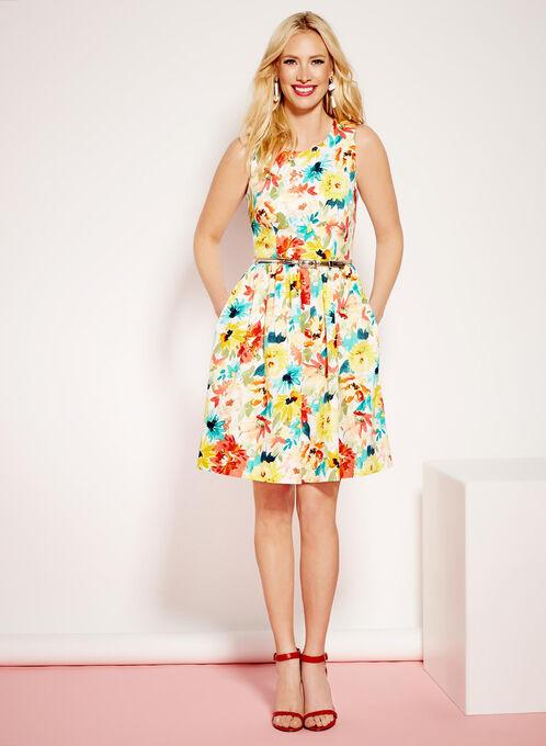 Open Back Watercolour Print Dress, White, hi-res