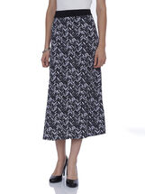 Abstract Zigzag Maxi Skirt, White, hi-res