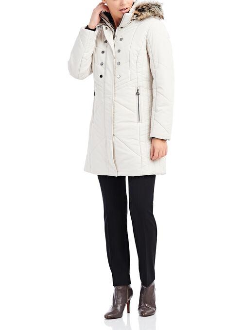 Marcona Faux Fur Polyfill Coat, Off White, hi-res