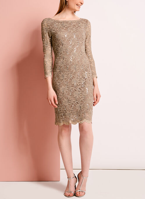 Sequined Lace Sheath Dress, Brown, hi-res