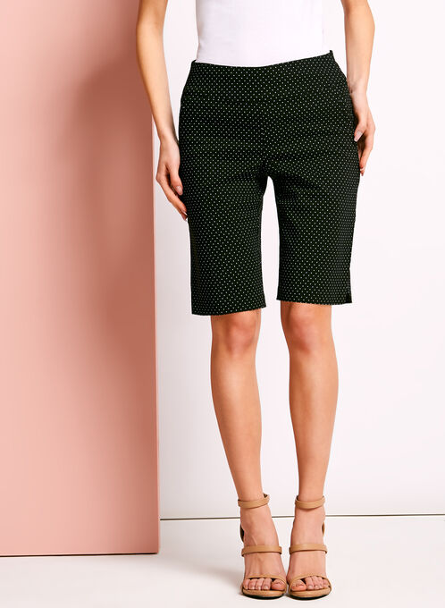 Simon Chang Dot Print Bermuda Shorts, Black, hi-res