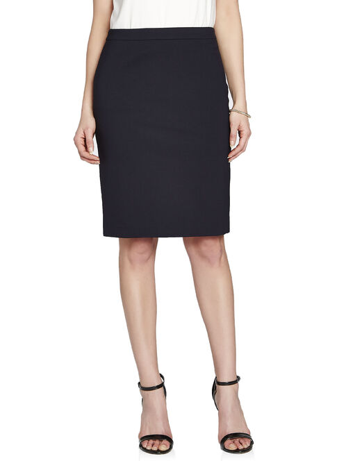 Contour Waist Solid Pencil Skirt, Blue, hi-res