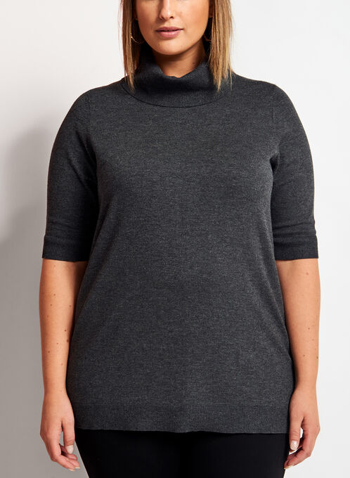 Short Sleeve Cowl Neck Sweater, Grey, hi-res