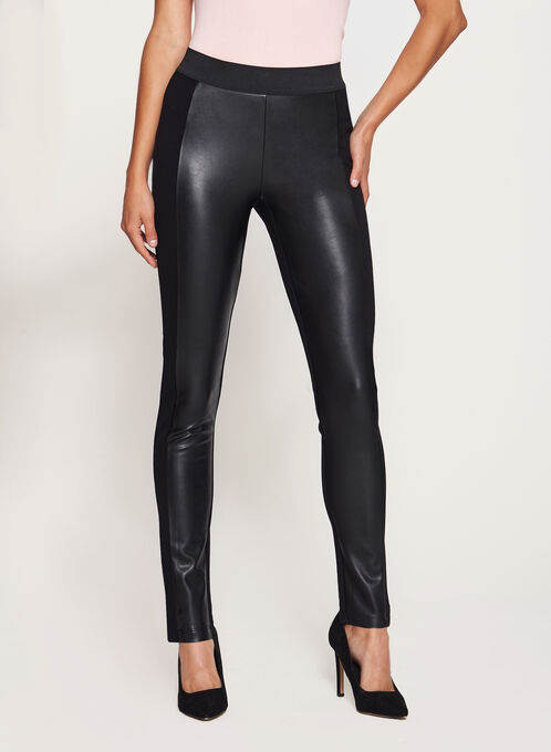 Faux Leather Leggings, Black, hi-res