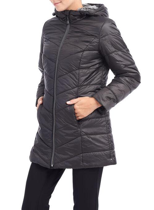 Chevron Faux Fur Coat, Black, hi-res