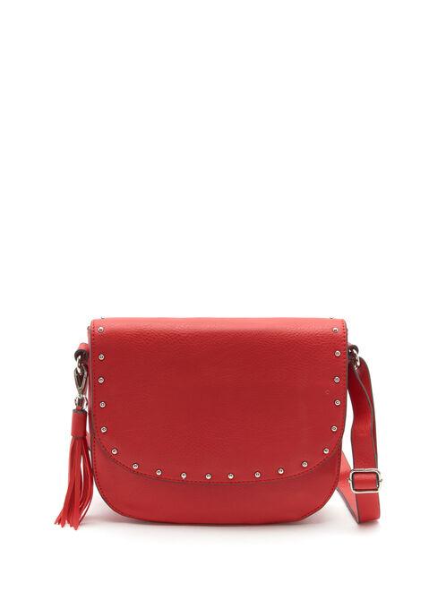 Studded Foldover Crossbody Bag, Red, hi-res