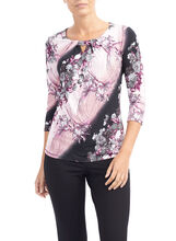 3/4 Sleeve Floral Print Top, Red, hi-res